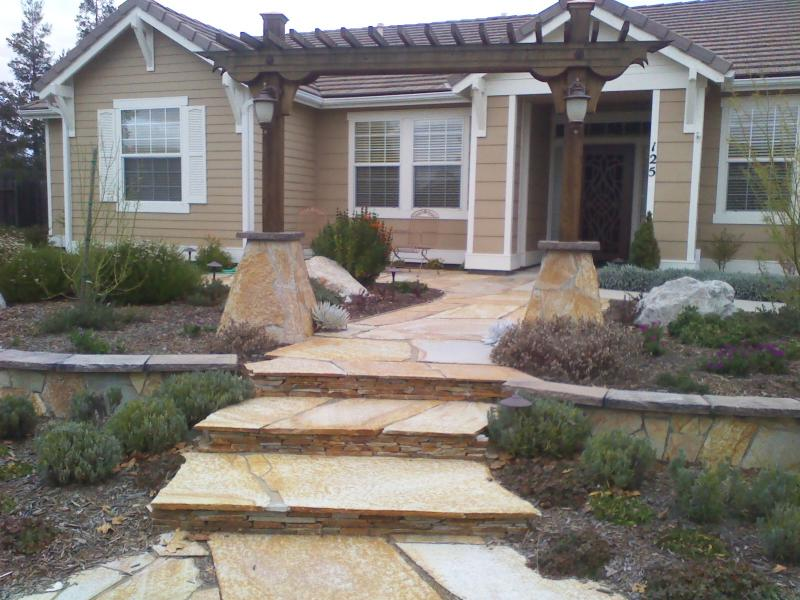 Flagstone entry with arbor