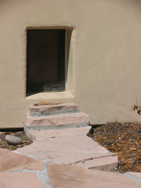 custom doggy door with flagstone path